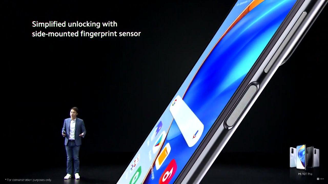 Xiaomi Mi 10T skener odtlackov prstov v bocnej stene zariadenia