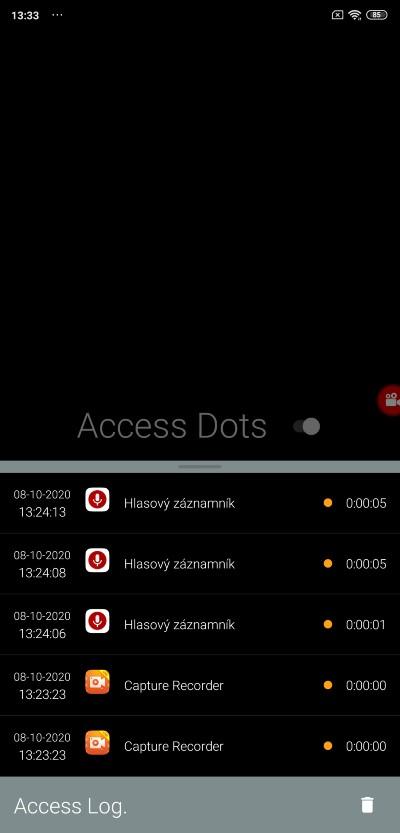 Acess dots_pristup k mikrofonu a kamere smartfonu
