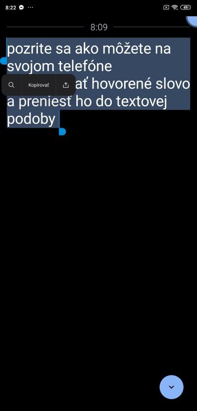 Okamzity prepis_android aplikacia_kopirovanie textu