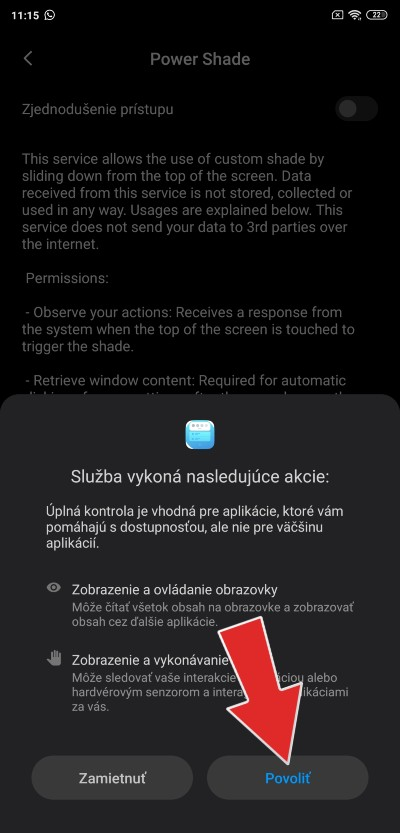 Power Shade_povolenie funkcii_2