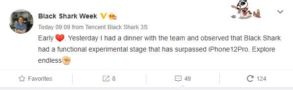 Post na Weibo ohľadom nového hráčskeho zariadenia Black Shark 4.