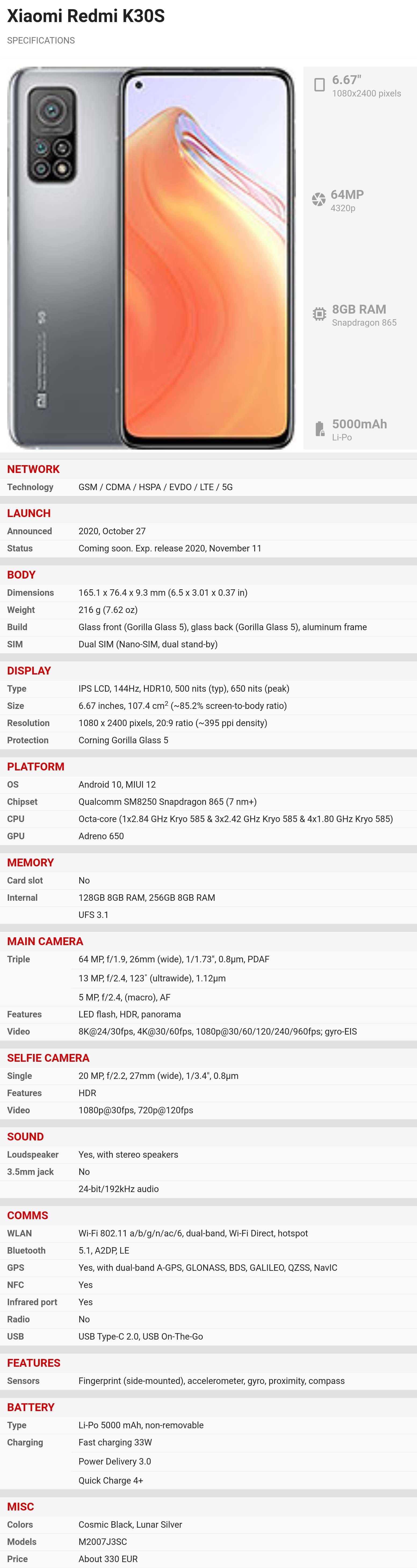 Špecifikácie Redmi K30S