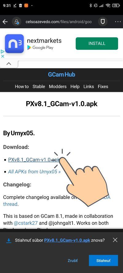 Instalacia Google Kamery 8.1_1 (aktualizacia)