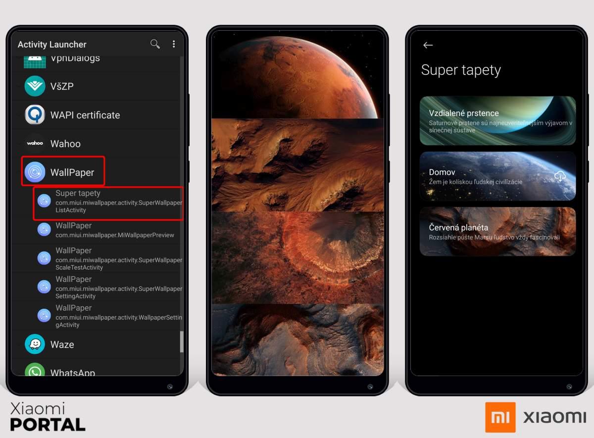 Aplikáciu Super Wallpapers spustíte vďaka Activity Launcher. Zdroj: Xiaomiportal.sk