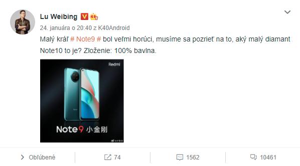 Lu Weibing sa pýta na to, čo očakávajú ľudia od Redmi Note 10.