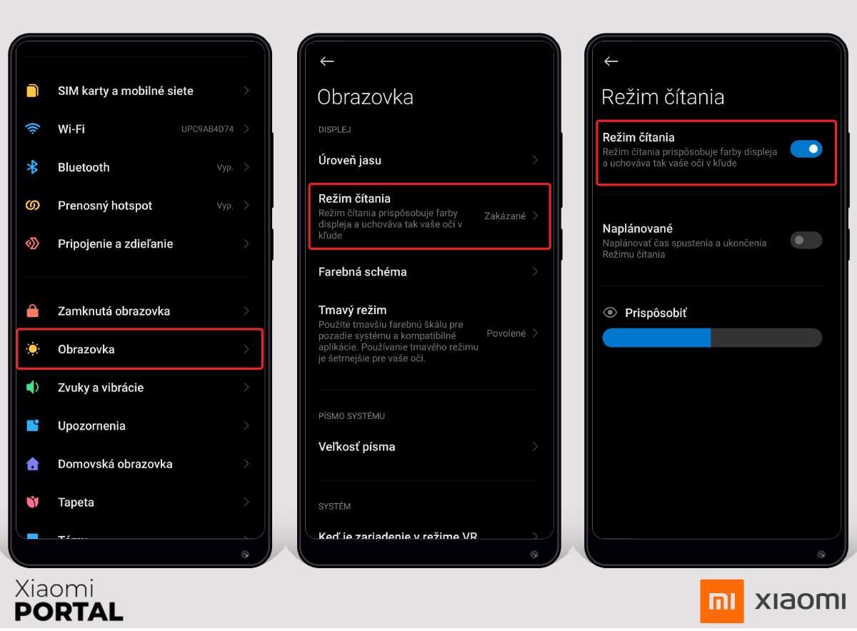 Takto zapnete režim čítania vo vašom Xiaomi zariadení. Zdroj: Xiaomiportal.sk