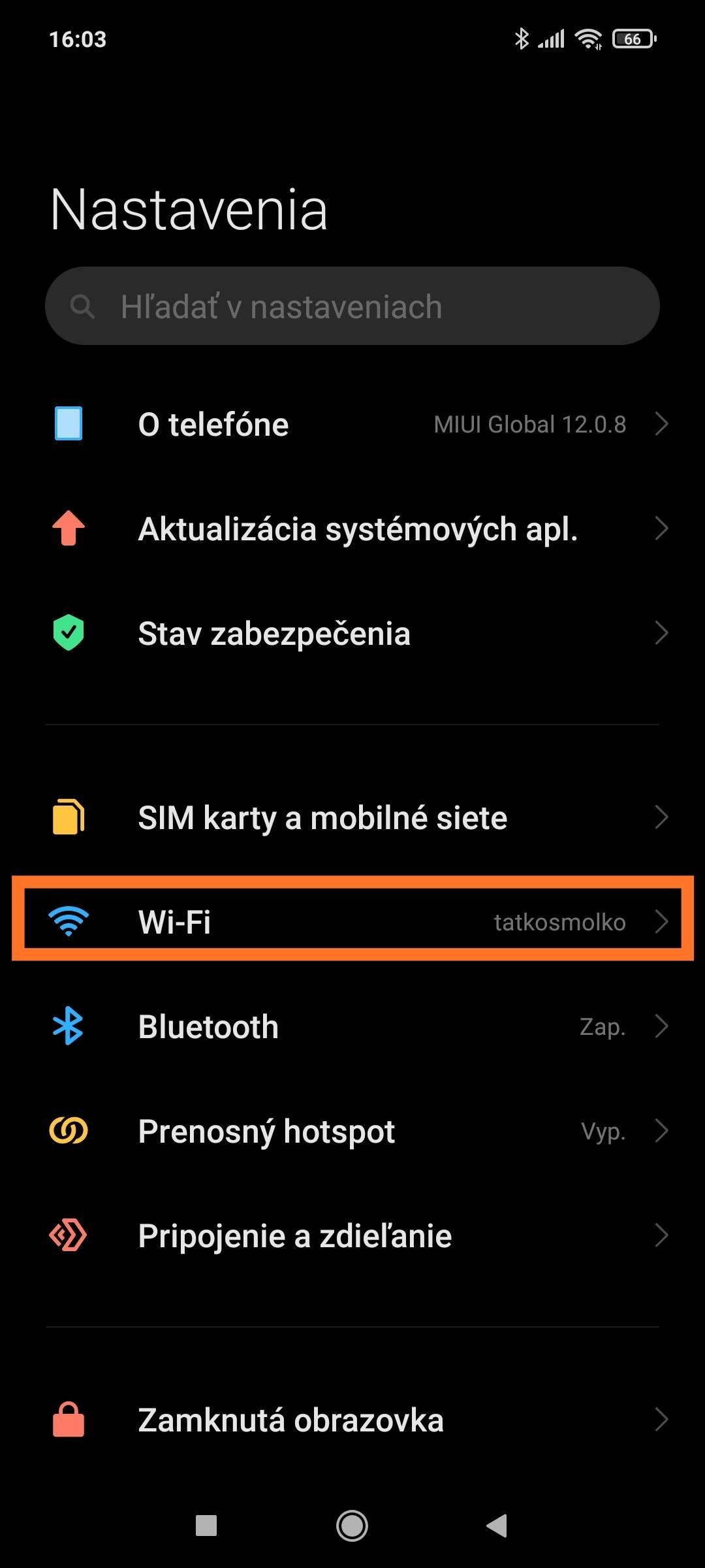 MIUI QR kód Wifi