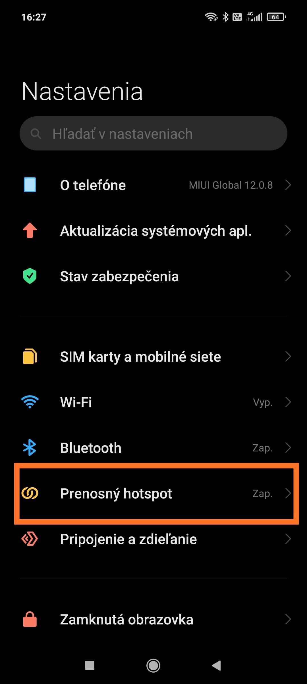MIUI QR kód hotspot