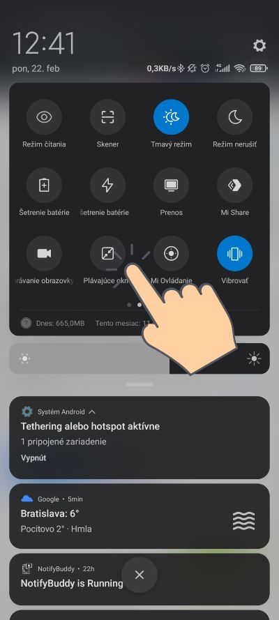 MIUI 12_plavajuce okno s aplikaciou