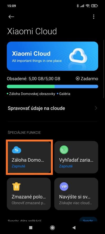 Xiaomi Cloud návod