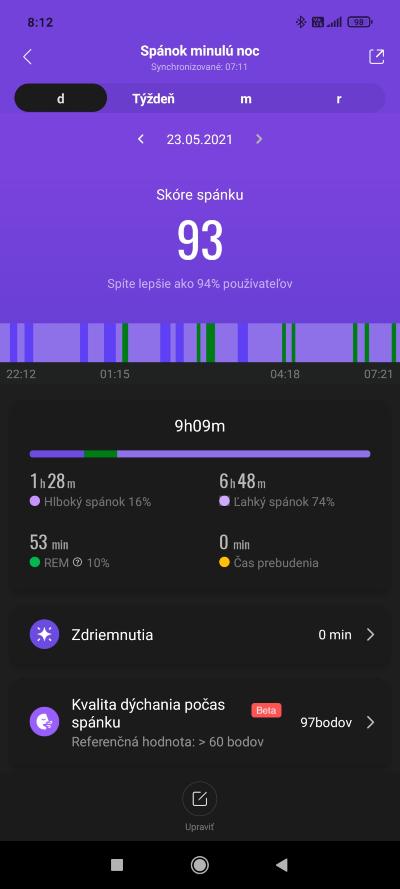 Mi Band 6 spánok tracking
