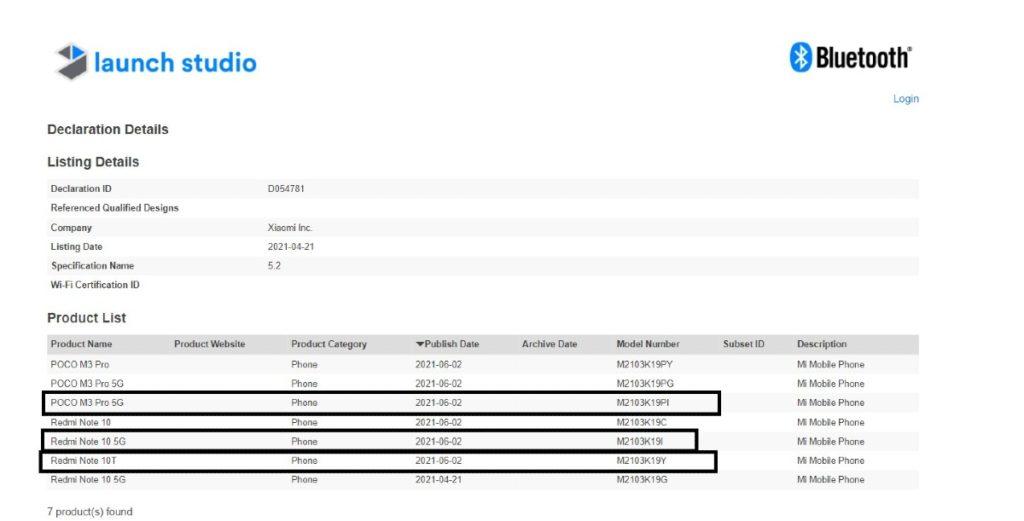 Redmi Note 10T Bluetooth certifikácia